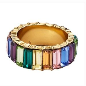 Baguette rainbow colorful gold ring sz 8 18k new